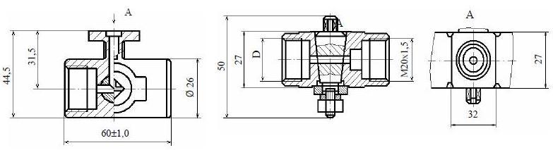 Кран трехходовой ВНИЛ.494646.111-13